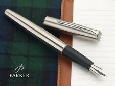 Parker Frontier Stainless Steel SS CT Fountain Ink Pen Chrome Trim New Converter