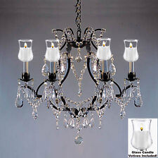 "Crystal Chandelier Lighting W/ Candle Votives H19"" W20""For Indoor/Outdoor Use!"