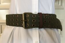 Calvin Klein Woman's Belt Size Medium Cotton & Leather Color Green And Brown