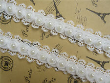 1yd Vintage Flower Pearl Lace Edge Trim Ribbon Applique Embroidered Sewing Craft