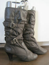 Women's NEW LOOK brown faux suede mid calf buckle boots size 7