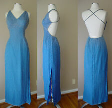 VINTAGE SCALA SILK BEAD BRAS BUILT IN EVENING DRESS GOWN WEDDING PROM BRIDESMAID