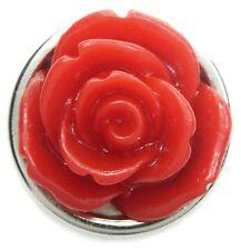 Neu DRUCKKNOPF für Armband/Druckknopf Armbänder ROSE rot Button/Knopf silber