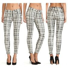 Seven For All Mankind Cropped Skinny Black/White Plaid Jeans 26 $198