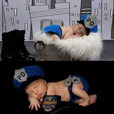 Newborn Baby Boys Knitted Crochet Costume Photo Photography Prop Outfits Police