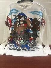 VTG 1995 Warner Bros. TAZ , Bugs Bunny Football Long Sleeve T-Shirt Size XL
