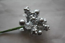 1 x SILVER BERRY, MINI BERRY & CRYSTAL PICK WIRED STEMS CHRISTMAS FLORAL CRAFT