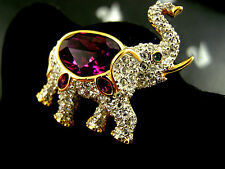 SIGNED SWAROVSKI PAVE' AND AMETHYST CRYSTAL ELEPHANT PIN ~ BROOCH RETIRED NWT