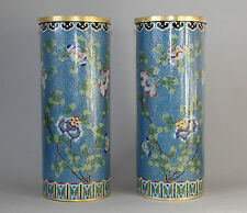 Antique c.1900 Mirror Pair of Chinese Cloisonne Sleeve Vases