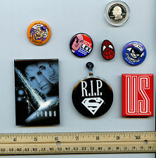 Comic 7 Promo Button & Pin Collection Set DC Marvel Various Years