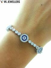 TURKISH HANDMADE JEWELRY KIM'S 925 SILVER EVIL EYE NAZAR TENNIS BRACELET B2677