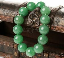 12mm 100% Natural Green A Jade Jadeite Round Gemstone Beads Bracelet 7.5""