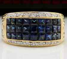 3.30Ct Natural Blue Sapphire & Diamond 14K Solid Yellow Gold Ring