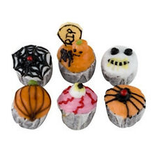 Dollhouse Miniature Creepy Halloween Cupcakes - Set of 6