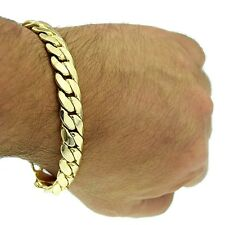 """Miami Cuban Link 12mm Thick Chain Bracelet 14k Gold Plated Hip Hop 9"""" Mens Curb"""
