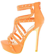 Colorful open Toe Studded Strappy Stiletto High Heel Platform Sandals Pumps H116