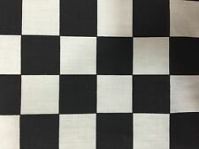 """Black White One Inch Checkered Poly Cotton Fabric - Sold By The Yard -58"""" / 60"""""""
