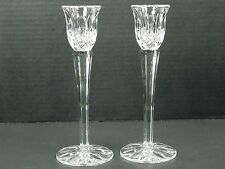Pair of Cut Crystal Taper Candle Holders Sticks 8 Inch Tall Party Dining Decor