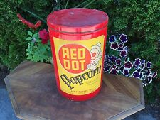 """ANTIQUE RED DOT POPCORN Tin Canister 12"""" tall MADISON CONTINENTAL CAN CO. CLOWN"""
