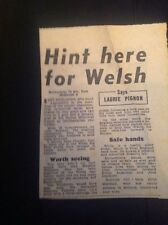 Ephemera Article 1954 Rugby Match Report Barbarians East Midlands  M48