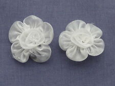 "10 BEAUTIFUL 5cm/2"" IVORY & SILVER EDGED ORGANZA ROSES"