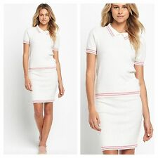 Size 18 Simply Fab Polo 2 Piece Set Summer Holiday New Top & Skirt Be White Pink