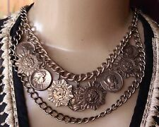 Vintage Necklace Wide Bib Mixed Good Luck Coin Charms