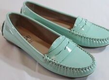 IMPO 6 M ARI Seafoam GREEN Patent Leather Penny LOAFERS FLATS Rubber Sole