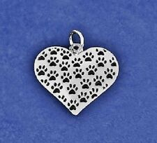Sterling Silver Pl Multi Paw Prints Heart Charm Pendant Cat Dog Lover PET RESCUE