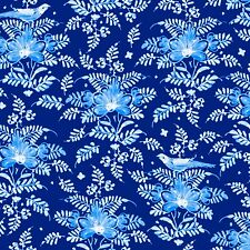 Blue Clusters of Flowers, Birds, Deep Blue Back, Annabelle, Windham (By 1/2 yd)
