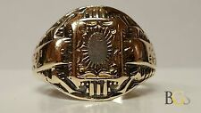 Antique 10K Yellow Gold & Sterling Silver High School Class Ring - Size 6.5