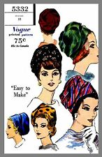 Vintage Vogue Millinery Hat Turban Head cover Fabric sewing pattern #5332