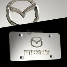 MAZDA Logo Front 3D Mirror Stainless Steel License Plate Frame W/ Caps AUTHENTIC