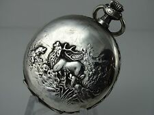COLLECTABLE LONGINES SILVER HUNTER POCKET WATCH ENGRAVED CASE