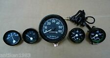 Willys MB Jeep Ford CJ GPW Gauges Kit - Speedometer+Temp+Oil+Fuel+ Ampere -Black