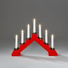 Christmas 40cm X 28cm Static Indoor RED Wooden CANDLE ARCH / CANDLELIER/ bridge