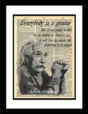 Albert Einstein Quote printed on vintage dictionary paper. Unique original print