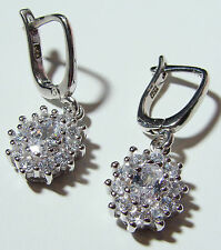 Rhodium Plated 925 Sterling Silver Drop Leverback Earrings, cubic zirconias 27mm