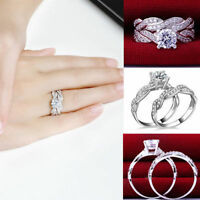 Lady Gemstone CZ Wedding Engagement Ring Set Band Rings Size 6-9 Womens Jewelry