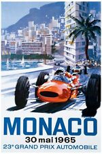 Classic Poster Monaco Reproduction Motorsport Print Grand Prix Formula 1 1965 A2