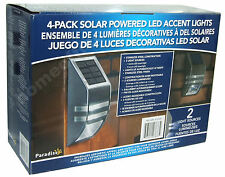 4 x Solar Powered Wall / Fence LED Accent Lights Stainless Steel New