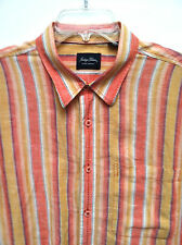 Men's Tommy Bahama Indigo Palms Orange Stripe SS Shirt Size XL EUC!