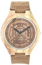 Wooden Firefighter Watch with cowhide leather strap-Bamboo case & etched dial
