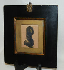 Antique Hand Painted 19th Century Silhouette Bust Woman Girl Portrait