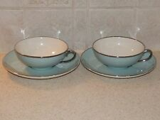 FRANCISCAN CHINA DAWN PATTERN PAIR CUPS AND SAUCERS PLATINUM TRIMMED