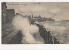 Saint Malo Le Sillon Jour de Tempete France Vintage Postcard 483a