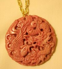 Lovely Large Sculpted Salmon Pink Bird & Dragon Natural Stone Pendant Necklace