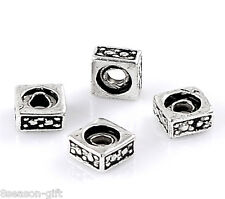 "200PCs Silver Tone Pattern Carved Square Charm Beads 5x3mm(2/8""x1/8"")"