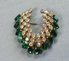 Vintage Austrian Shoffel Crown Marked  Rhinestone Brooch Green