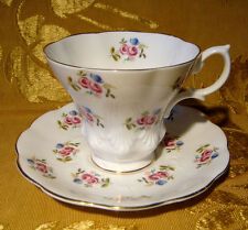 ROYAL ALBERT CUP & SAUCER FLORAL BLUE and PINK ROSES MADE IN ENGLAND GOLD TRIM